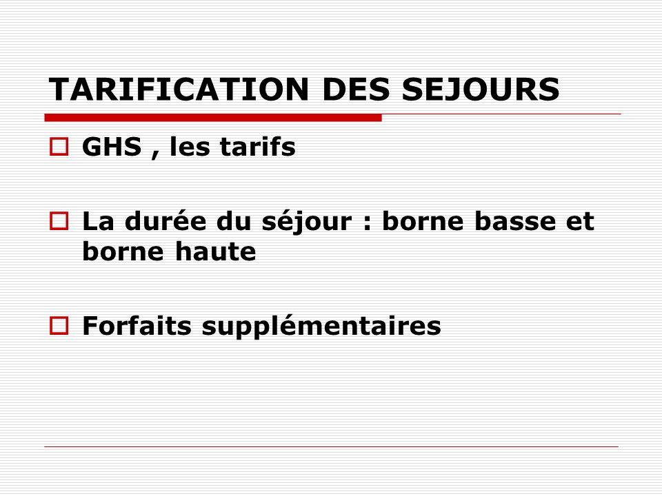 TARIFICATION DES SEJOURS GHS, les tarifs La durée du séjour : borne basse et borne haute Forfaits supplémentaires