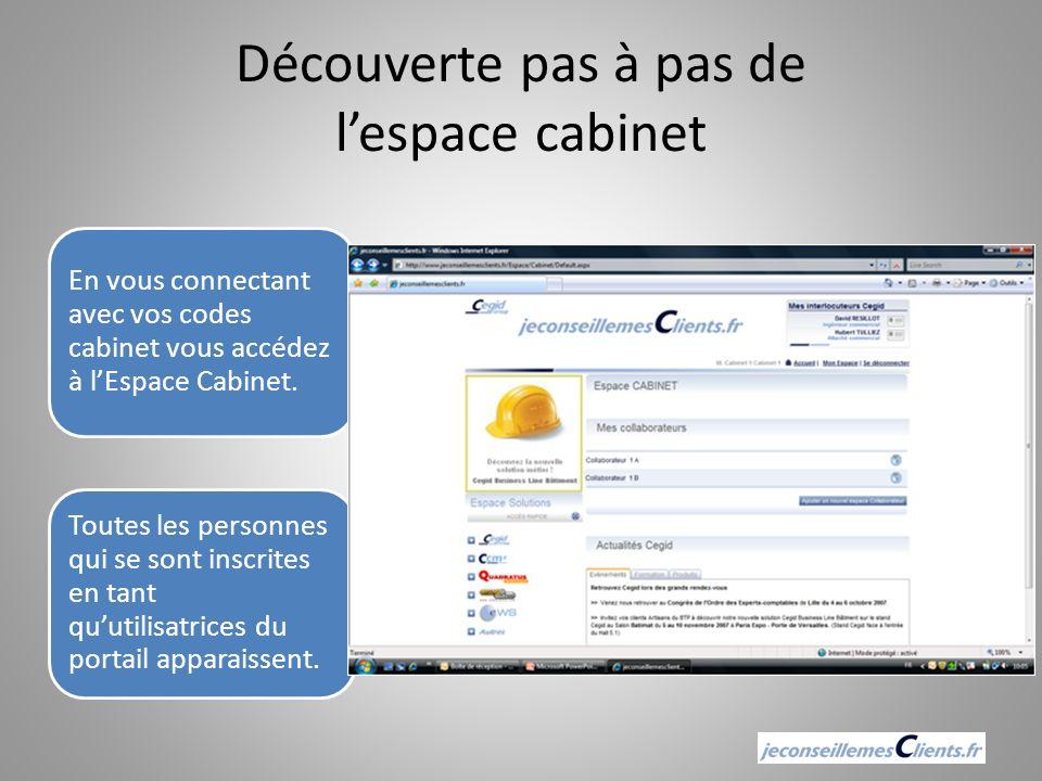 Découverte pas à pas de lespace cabinet En vous connectant avec vos codes cabinet vous accédez à lEspace Cabinet. Toutes les personnes qui se sont ins
