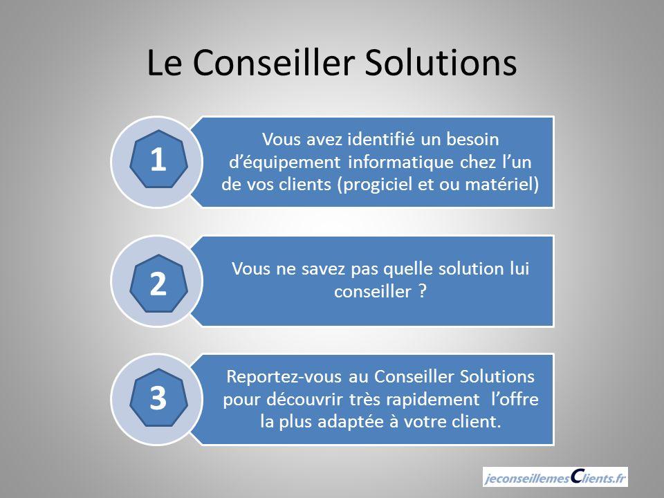 Le Conseiller Solutions Vous avez identifié un besoin déquipement informatique chez lun de vos clients (progiciel et ou matériel) Vous ne savez pas qu