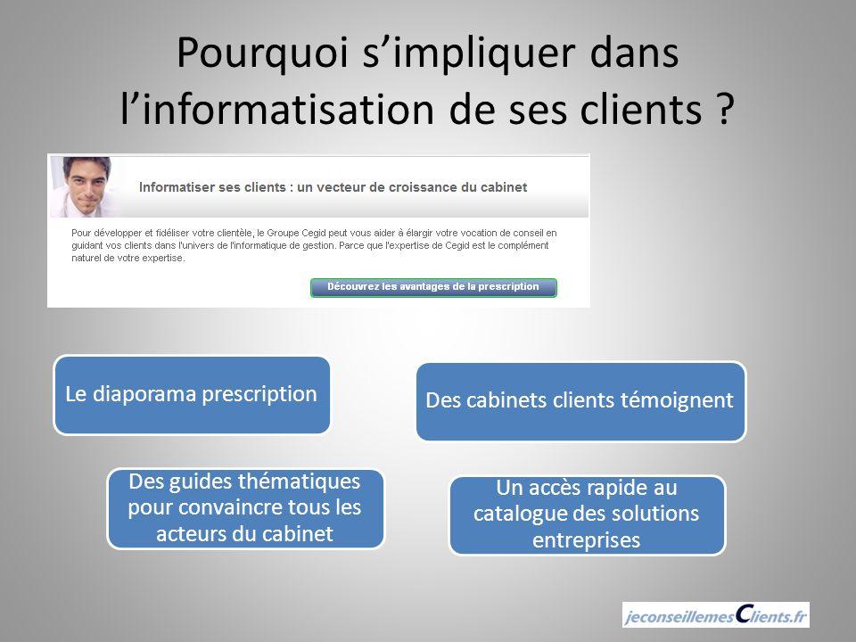 Pourquoi simpliquer dans linformatisation de ses clients ? Le diaporama prescriptionDes cabinets clients témoignent Un accès rapide au catalogue des s