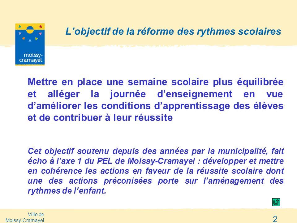 Ville de Moissy-Cramayel 2 Lobjectif de la réforme des rythmes scolaires Mettre en place une semaine scolaire plus équilibrée et alléger la journée de