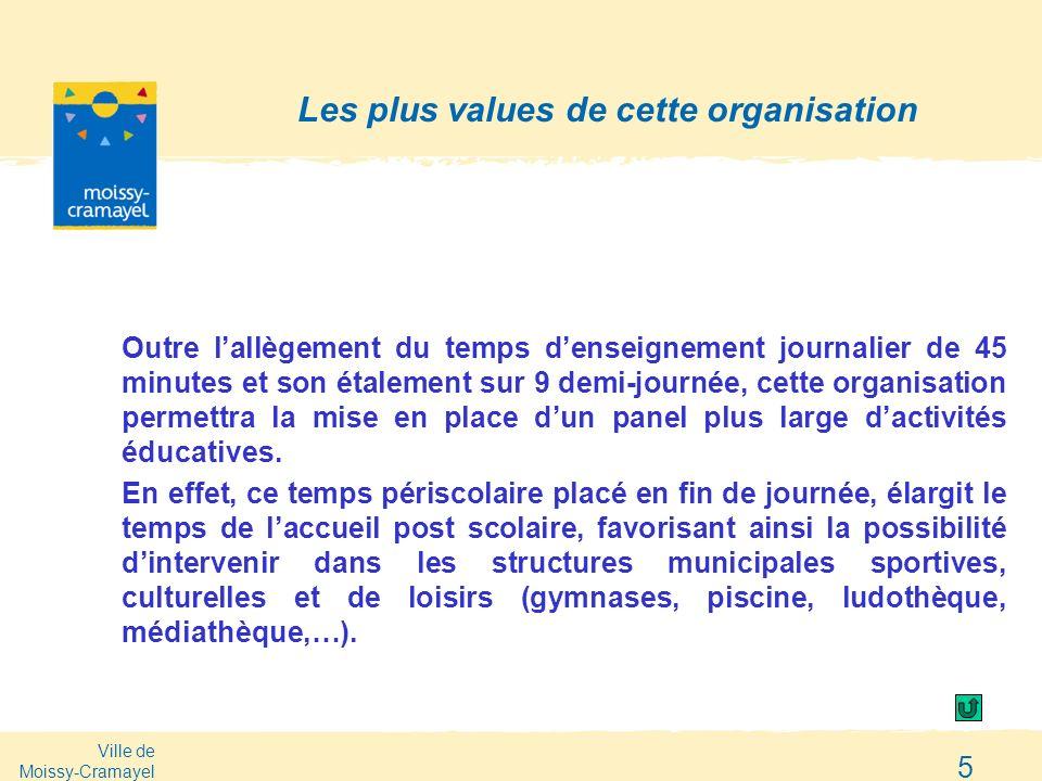 Ville de Moissy-Cramayel 5 Les plus values de cette organisation Outre lallègement du temps denseignement journalier de 45 minutes et son étalement su