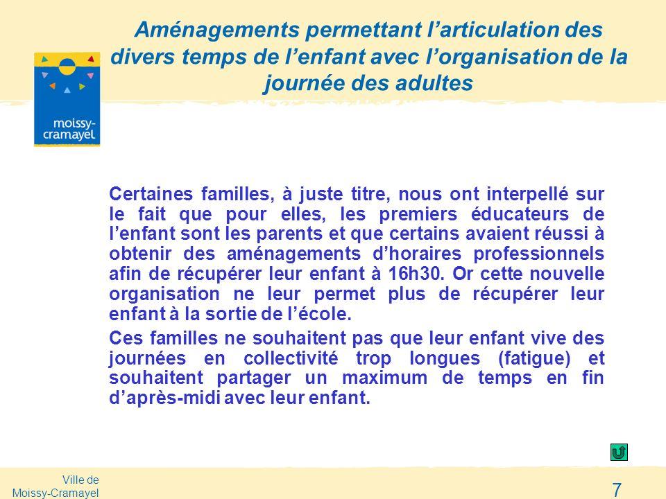 Ville de Moissy-Cramayel 7 Aménagements permettant larticulation des divers temps de lenfant avec lorganisation de la journée des adultes Certaines fa