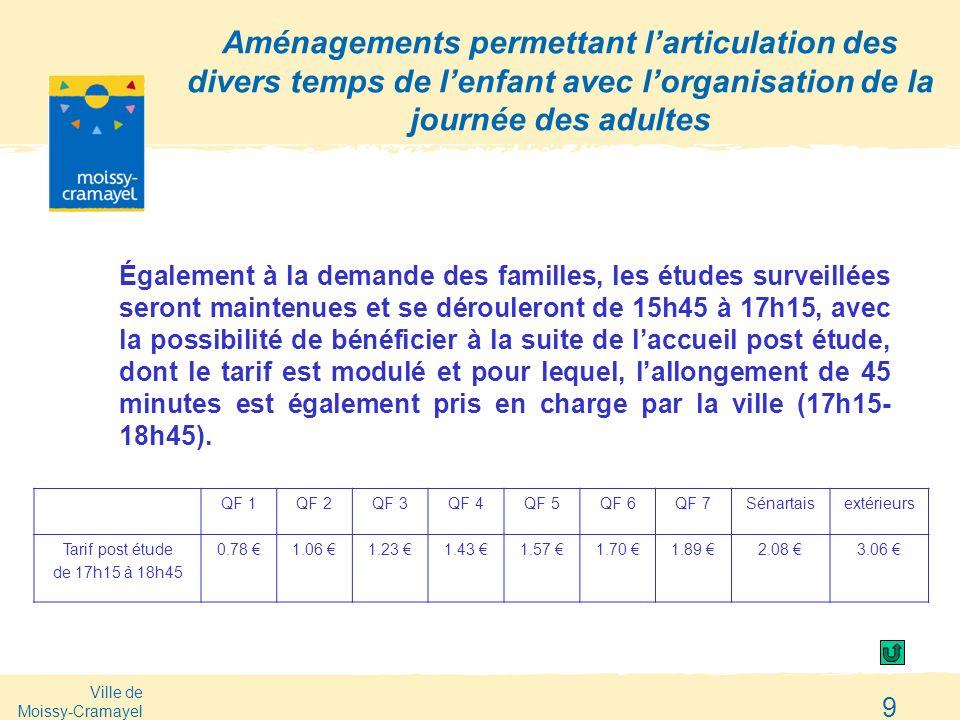 Ville de Moissy-Cramayel 9 Aménagements permettant larticulation des divers temps de lenfant avec lorganisation de la journée des adultes Également à
