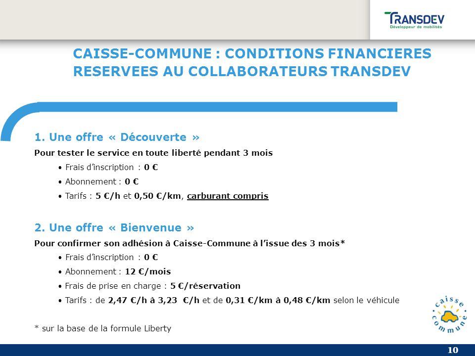 10 CAISSE-COMMUNE : CONDITIONS FINANCIERES RESERVEES AU COLLABORATEURS TRANSDEV 1.