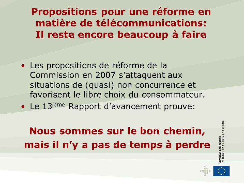 Propositions pour une réforme en matière de télécommunications: Il reste encore beaucoup à faire Les propositions de réforme de la Commission en 2007 sattaquent aux situations de (quasi) non concurrence et favorisent le libre choix du consommateur.