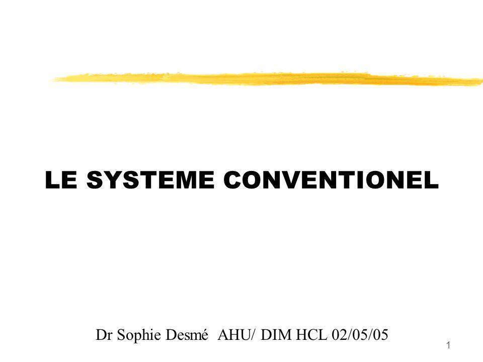 1 LE SYSTEME CONVENTIONEL Dr Sophie Desmé AHU/ DIM HCL 02/05/05