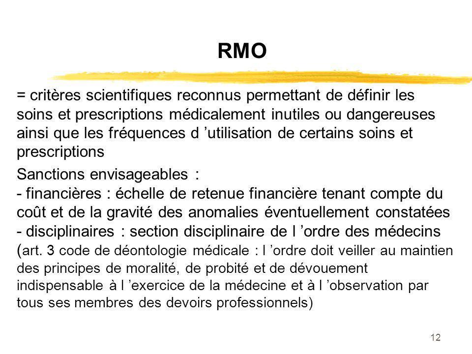 12 RMO = critères scientifiques reconnus permettant de définir les soins et prescriptions médicalement inutiles ou dangereuses ainsi que les fréquence
