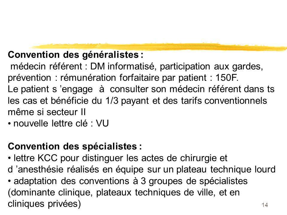 14 Convention des généralistes : médecin référent : DM informatisé, participation aux gardes, prévention : rémunération forfaitaire par patient : 150F