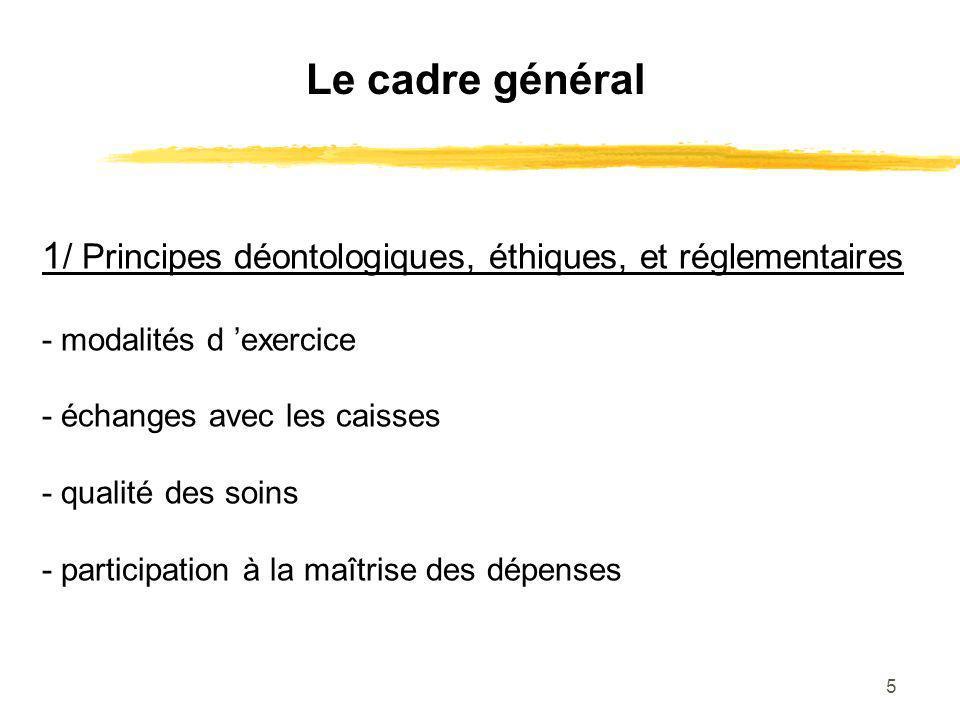 5 Le cadre général 1 / Principes déontologiques, éthiques, et réglementaires - modalités d exercice - échanges avec les caisses - qualité des soins -