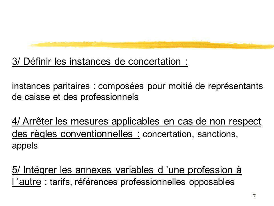 7 3/ Définir les instances de concertation : instances paritaires : composées pour moitié de représentants de caisse et des professionnels 4/ Arrêter