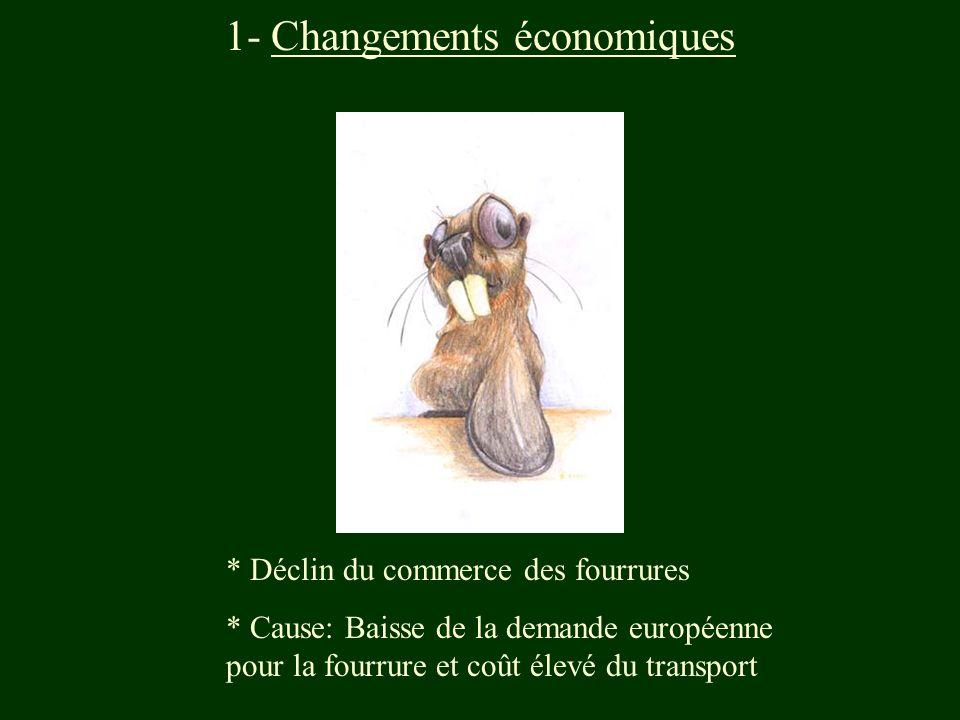 1- Changements économiques * Déclin du commerce des fourrures * Cause: Baisse de la demande européenne pour la fourrure et coût élevé du transport