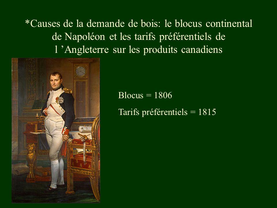 *Causes de la demande de bois: le blocus continental de Napoléon et les tarifs préférentiels de l Angleterre sur les produits canadiens Blocus = 1806 Tarifs préférentiels = 1815