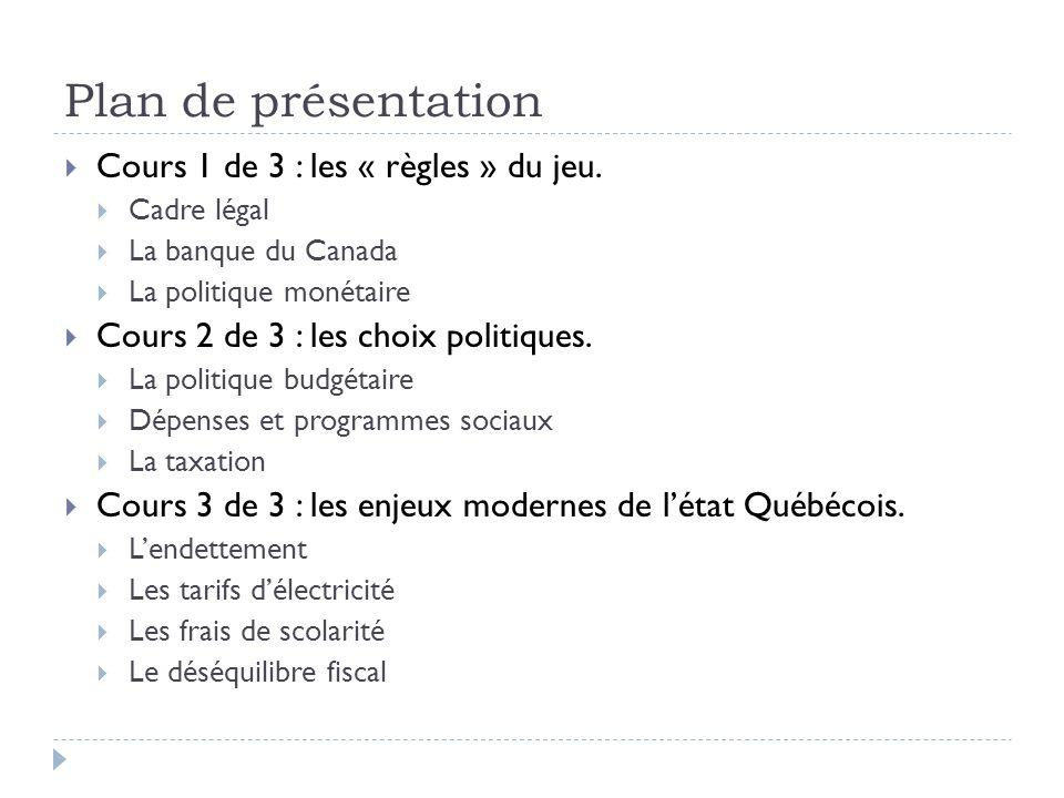 Plan de présentation Cours 1 de 3 : les « règles » du jeu. Cadre légal La banque du Canada La politique monétaire Cours 2 de 3 : les choix politiques.