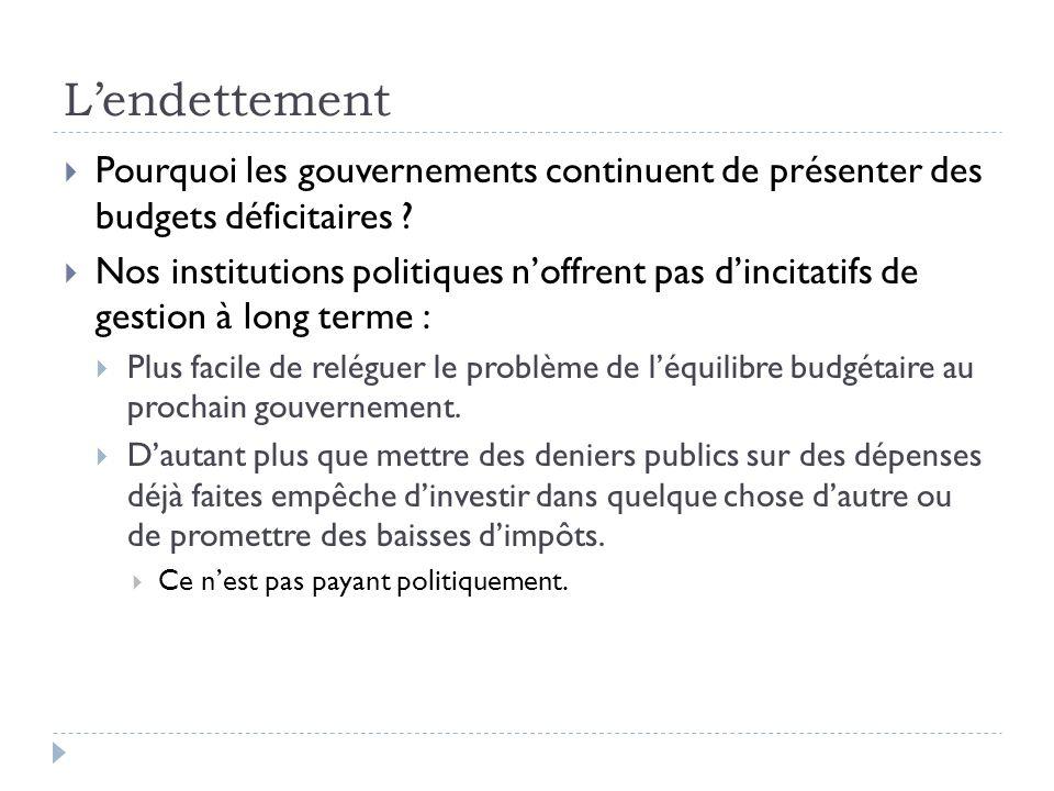 Lendettement Pourquoi les gouvernements continuent de présenter des budgets déficitaires ? Nos institutions politiques noffrent pas dincitatifs de ges