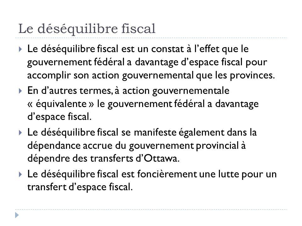 Le déséquilibre fiscal Le déséquilibre fiscal est un constat à leffet que le gouvernement fédéral a davantage despace fiscal pour accomplir son action gouvernemental que les provinces.