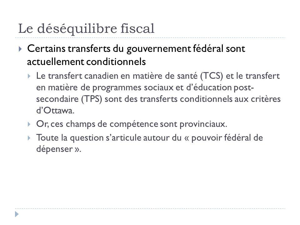 Le déséquilibre fiscal Certains transferts du gouvernement fédéral sont actuellement conditionnels Le transfert canadien en matière de santé (TCS) et le transfert en matière de programmes sociaux et déducation post- secondaire (TPS) sont des transferts conditionnels aux critères dOttawa.