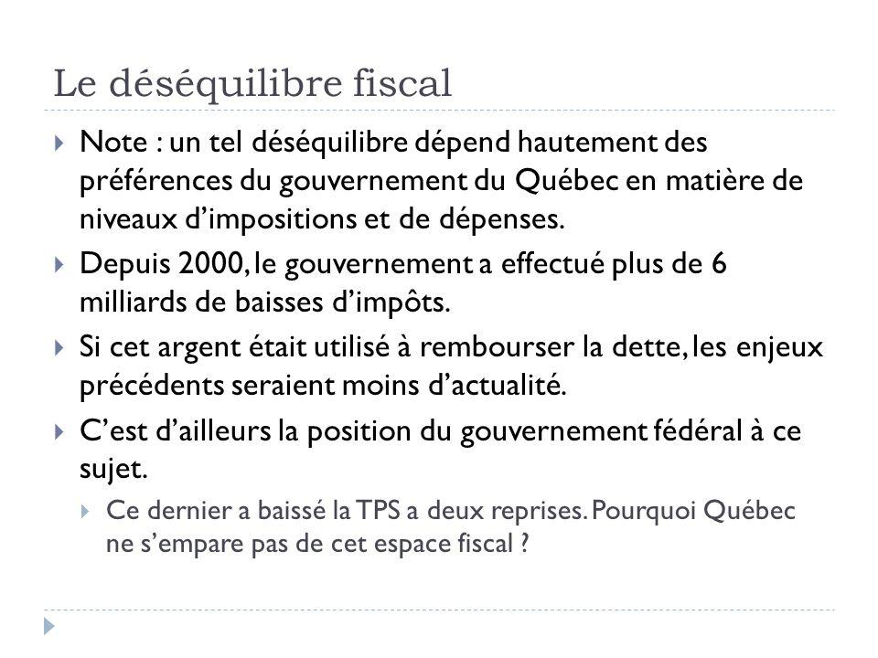 Le déséquilibre fiscal Note : un tel déséquilibre dépend hautement des préférences du gouvernement du Québec en matière de niveaux dimpositions et de
