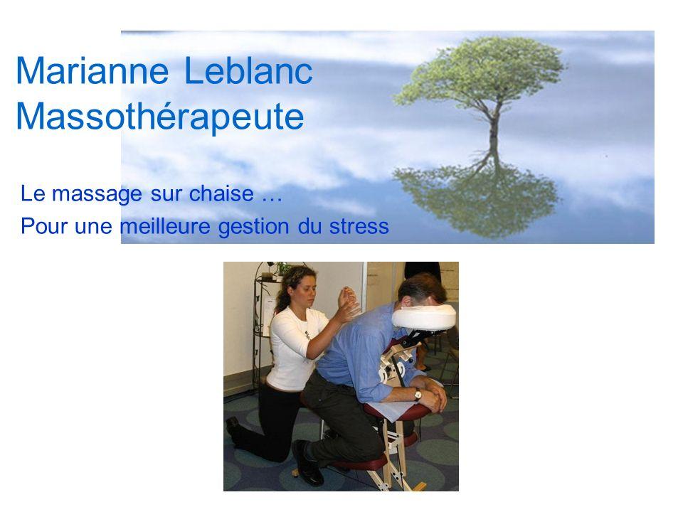 Marianne Leblanc Massothérapeute Le massage sur chaise … Pour une meilleure gestion du stress