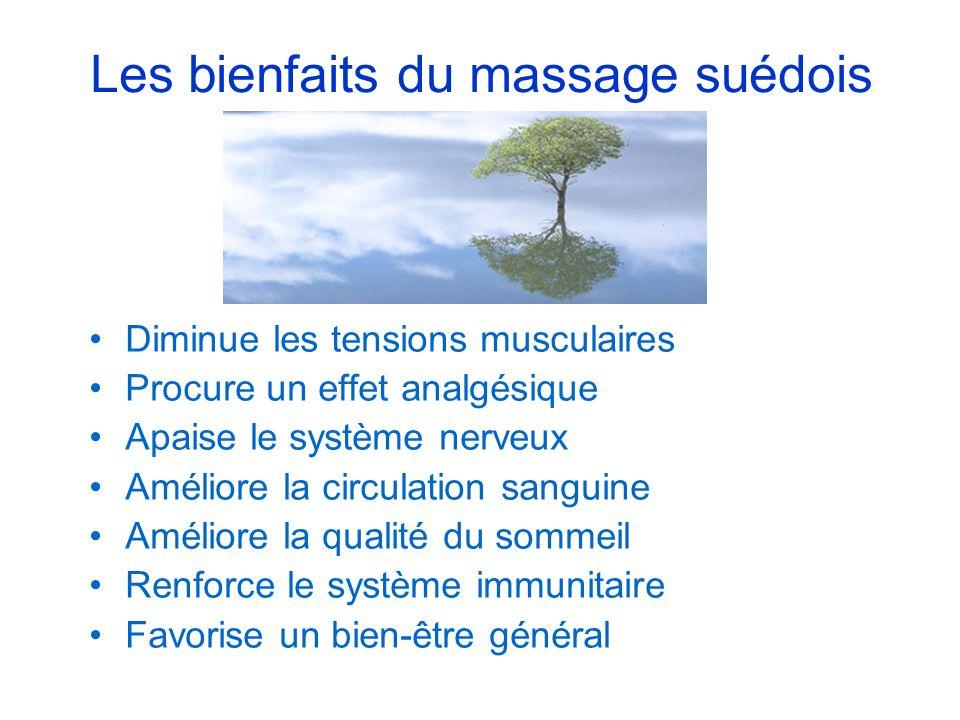 Les bienfaits du massage suédois Diminue les tensions musculaires Procure un effet analgésique Apaise le système nerveux Améliore la circulation sangu