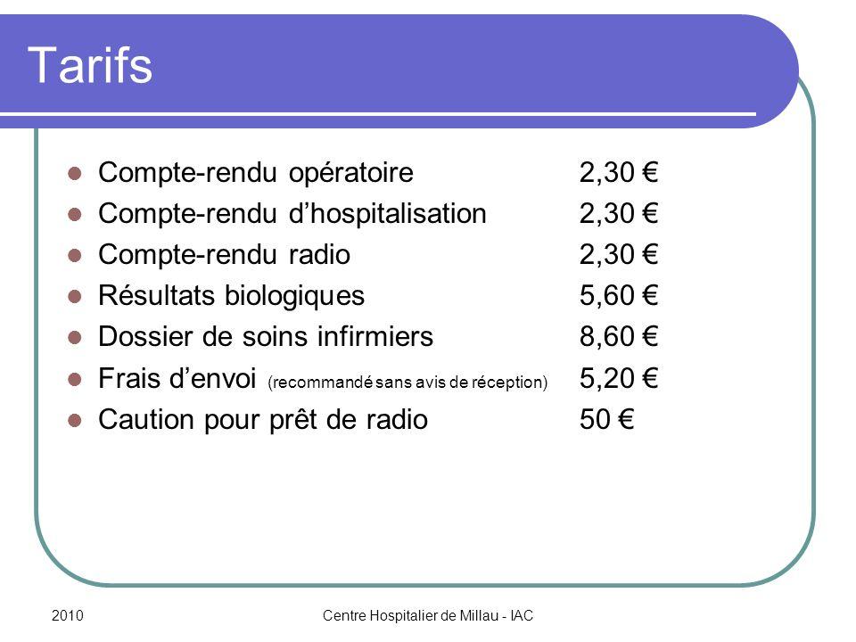 2010Centre Hospitalier de Millau - IAC Tarifs Compte-rendu opératoire2,30 Compte-rendu dhospitalisation2,30 Compte-rendu radio2,30 Résultats biologiques5,60 Dossier de soins infirmiers8,60 Frais denvoi (recommandé sans avis de réception) 5,20 Caution pour prêt de radio50