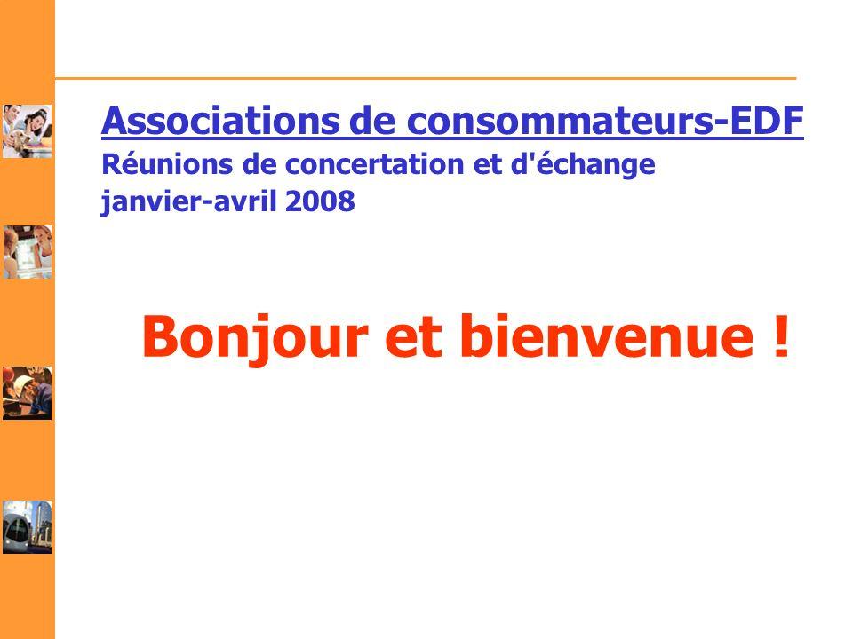 Bonjour et bienvenue ! Associations de consommateurs-EDF Réunions de concertation et d'échange janvier-avril 2008