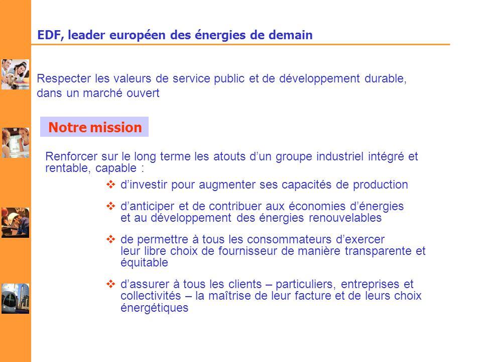 EDF, leader européen des énergies de demain Renforcer sur le long terme les atouts dun groupe industriel intégré et rentable, capable : dinvestir pour