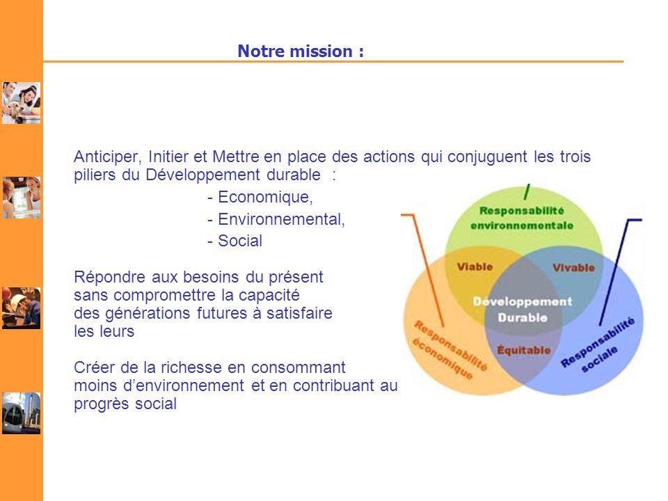 Notre mission : Anticiper, Initier et Mettre en place des actions qui conjuguent les trois piliers du Développement durable : - Economique, - Environn