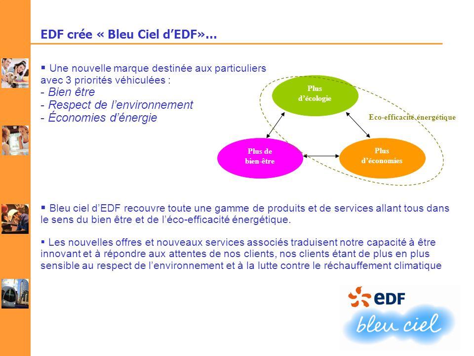 EDF crée « Bleu Ciel dEDF»… Une nouvelle marque destinée aux particuliers avec 3 priorités véhiculées : - Bien être - Respect de lenvironnement - Écon