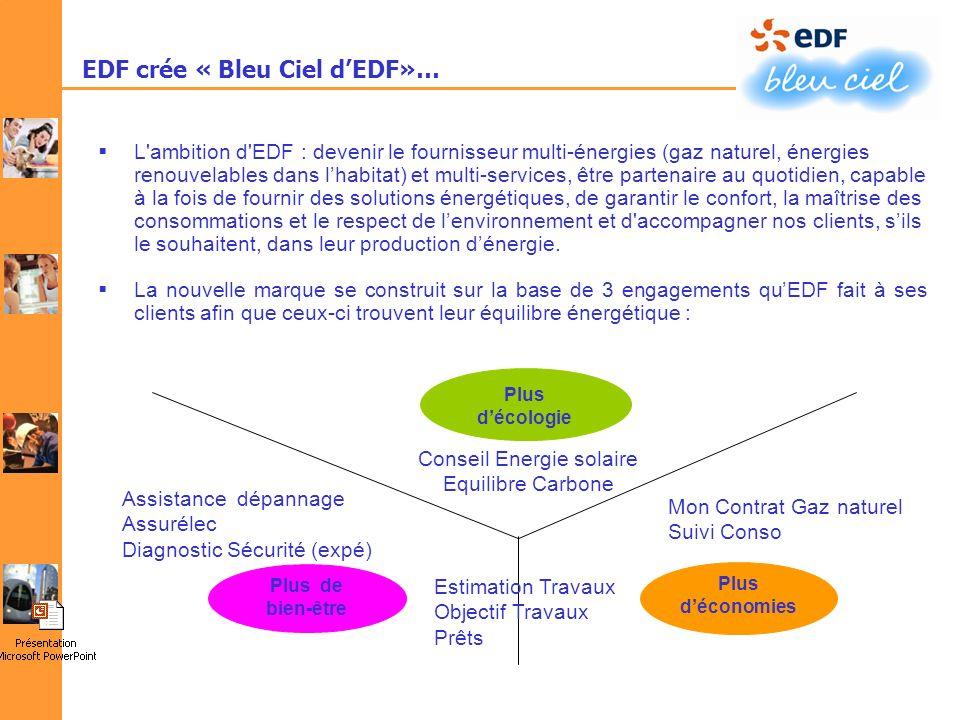 EDF crée « Bleu Ciel dEDF»… L'ambition d'EDF : devenir le fournisseur multi-énergies (gaz naturel, énergies renouvelables dans lhabitat) et multi-serv