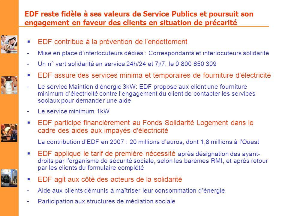 EDF reste fidèle à ses valeurs de Service Publics et poursuit son engagement en faveur des clients en situation de précarité EDF contribue à la préven