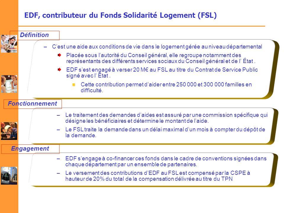 EDF, contributeur du Fonds Solidarité Logement (FSL) –Cest une aide aux conditions de vie dans le logement gérée au niveau départemental Placée sous l
