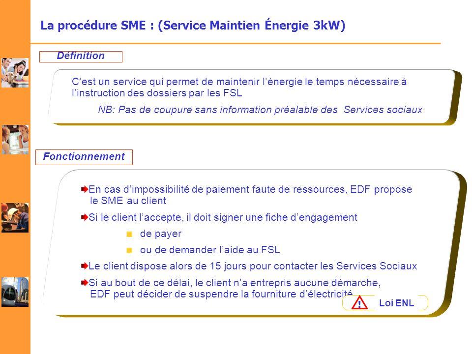 La procédure SME : (Service Maintien Énergie 3kW) Cest un service qui permet de maintenir lénergie le temps nécessaire à linstruction des dossiers par