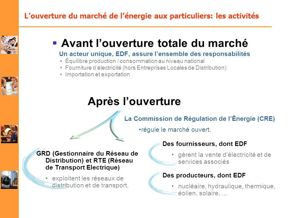 Louverture du marché de lénergie aux particuliers: les activités Après louverture Des fournisseurs, dont EDF gèrent la vente délectricité et de servic