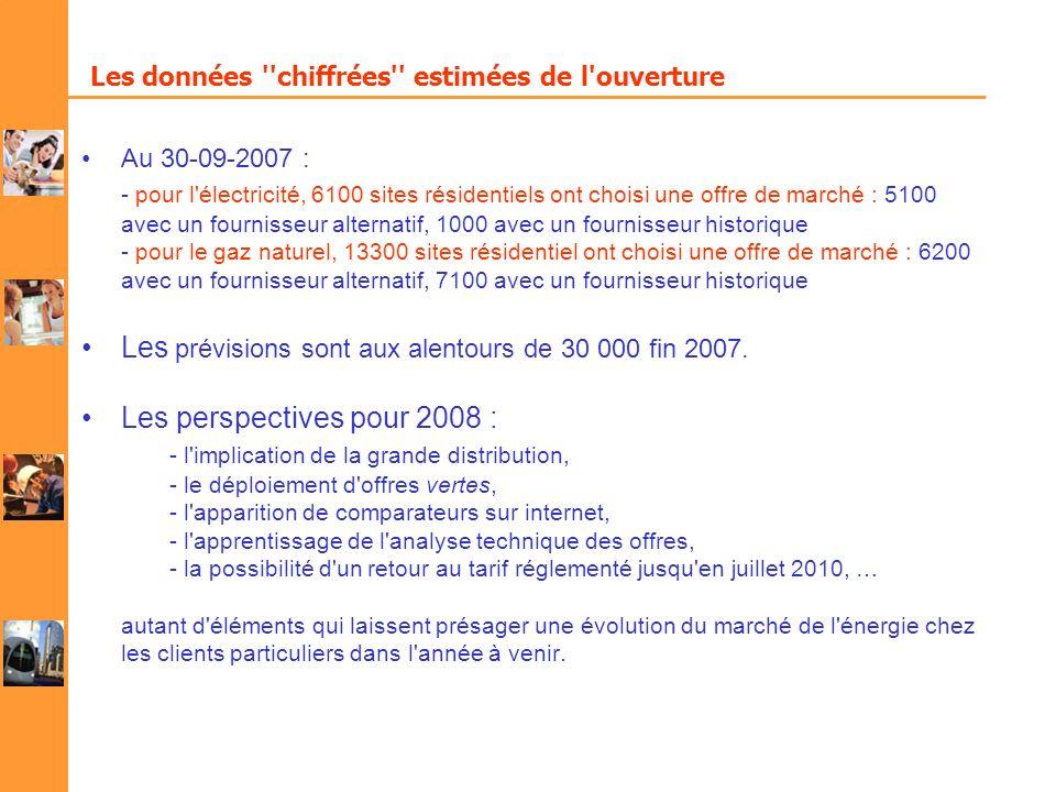 Les données ''chiffrées'' estimées de l'ouverture Au 30-09-2007 : - pour l'électricité, 6100 sites résidentiels ont choisi une offre de marché : 5100
