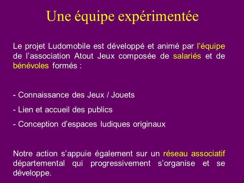 Une équipe expérimentée Le projet Ludomobile est développé et animé par léquipe de lassociation Atout Jeux composée de salariés et de bénévoles formés