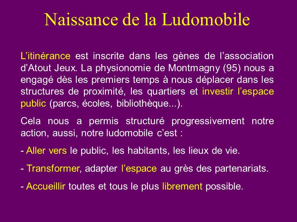 Naissance de la Ludomobile Litinérance est inscrite dans les gènes de lassociation dAtout Jeux. La physionomie de Montmagny (95) nous a engagé dès les