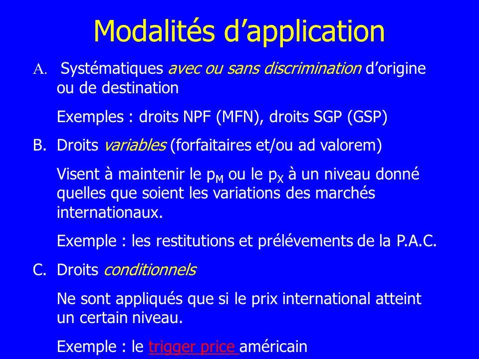 Modalités dapplication A. Systématiques avec ou sans discrimination dorigine ou de destination Exemples : droits NPF (MFN), droits SGP (GSP) B.Droits