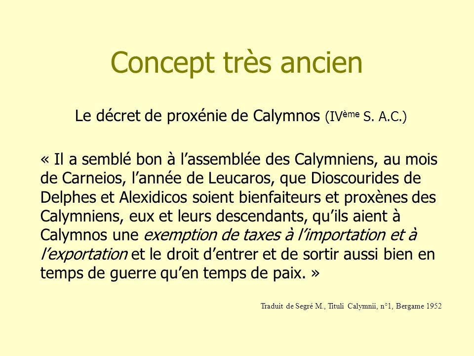 Concept très ancien Le décret de proxénie de Calymnos (IV ème S. A.C.) « Il a semblé bon à lassemblée des Calymniens, au mois de Carneios, lannée de L
