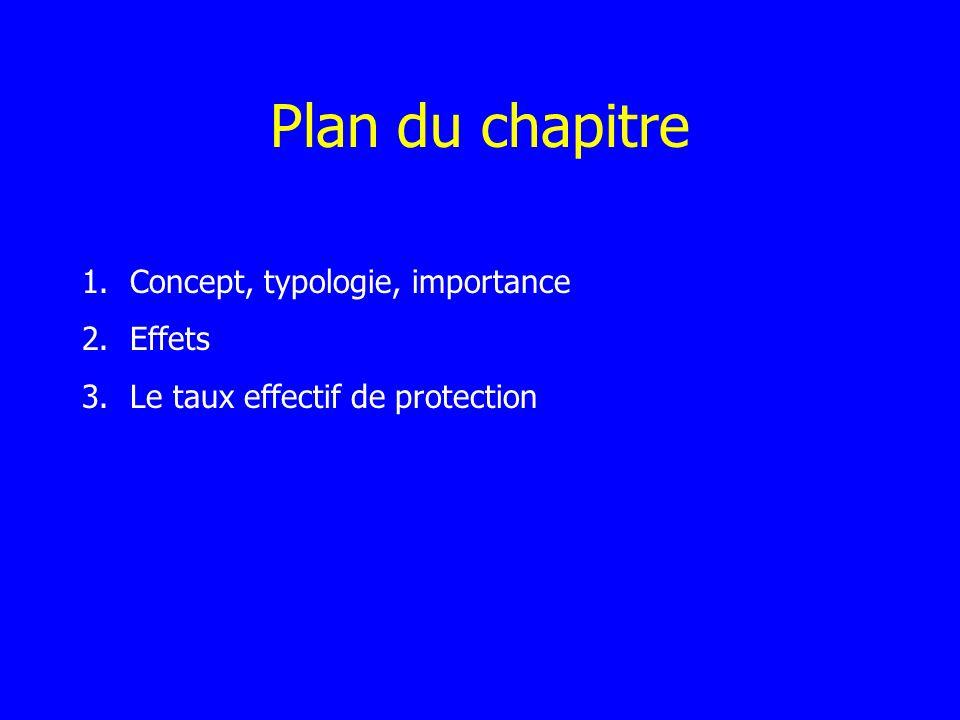 Plan du chapitre 1.Concept, typologie, importance 2.Effets 3.Le taux effectif de protection