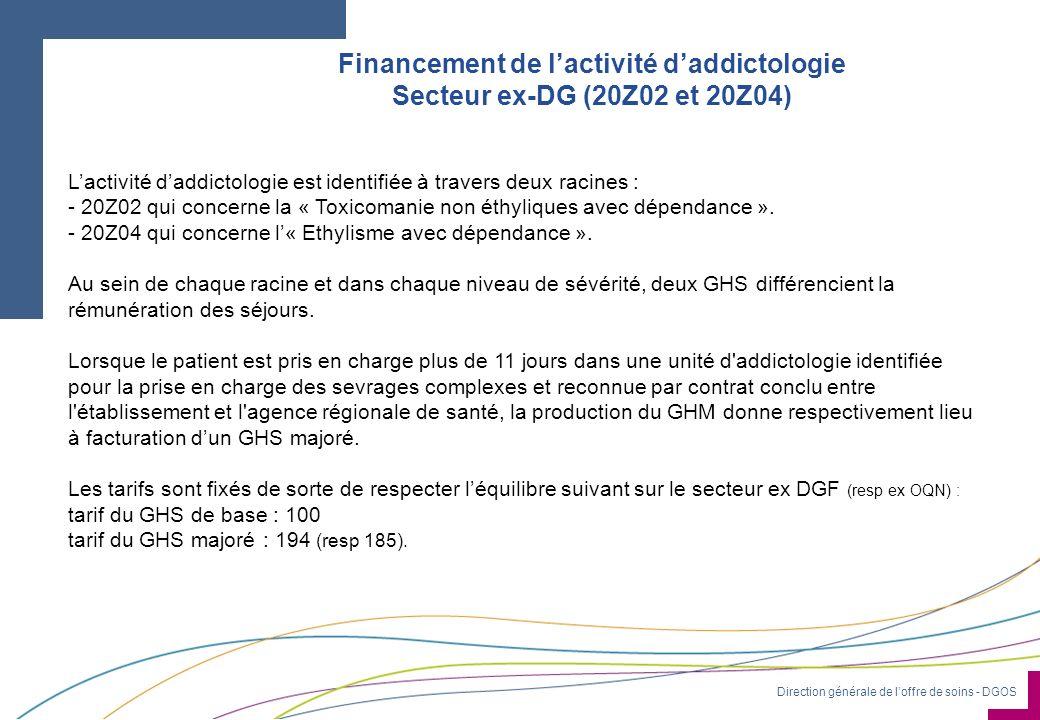 Direction générale de loffre de soins - DGOS Financement de lactivité daddictologie Secteur ex-DG (20Z02 et 20Z04) Lactivité daddictologie est identif