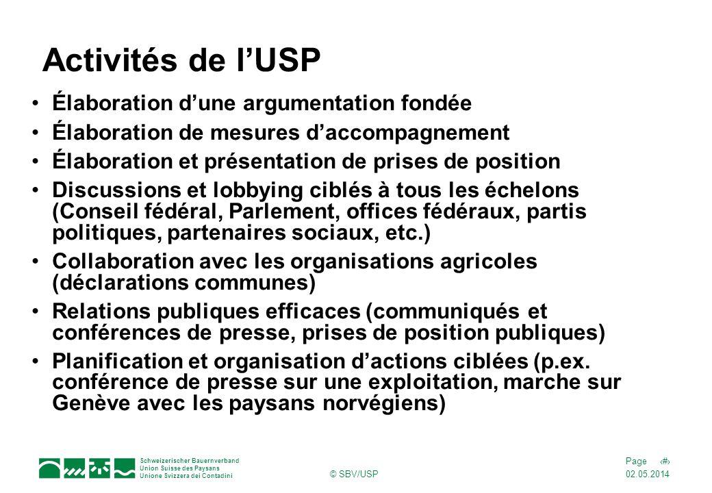 02.05.2014 7Page Schweizerischer Bauernverband Union Suisse des Paysans Unione Svizzera dei Contadini © SBV/USP Activités de lUSP Élaboration dune arg