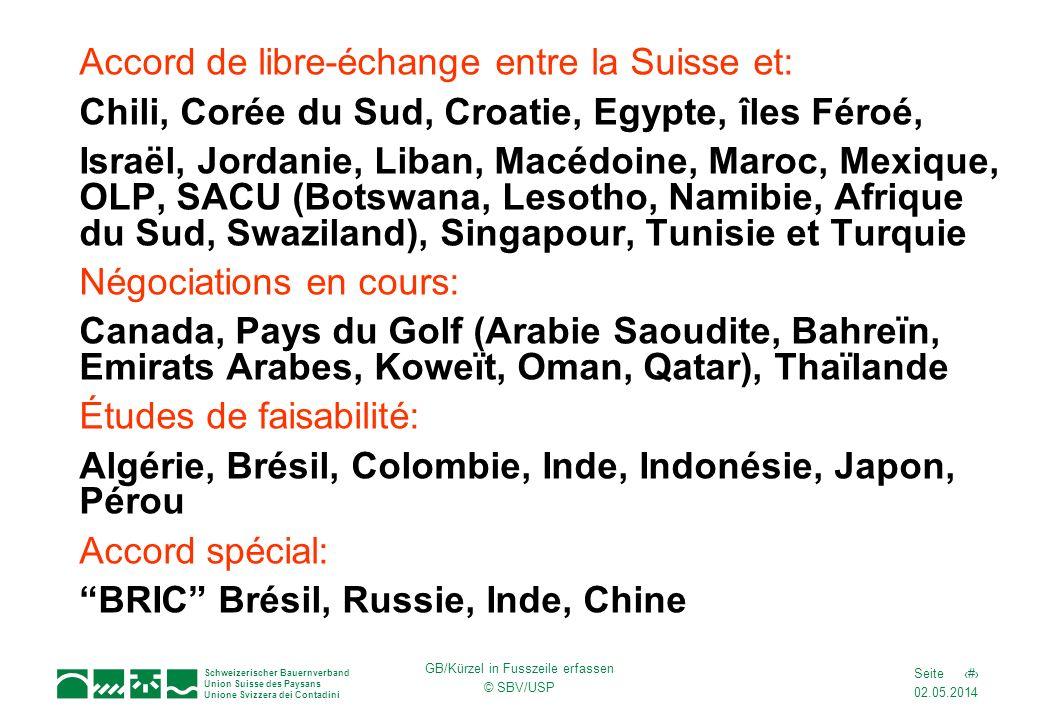 02.05.2014 8Seite Schweizerischer Bauernverband Union Suisse des Paysans Unione Svizzera dei Contadini GB/Kürzel in Fusszeile erfassen © SBV/USP Accor