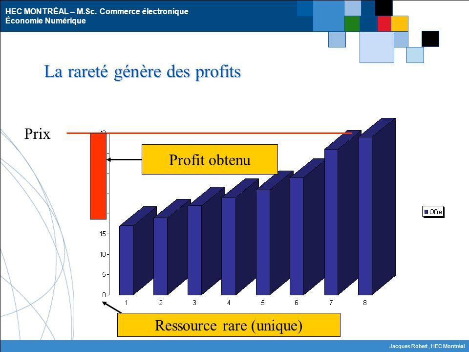 HEC MONTRÉAL – M.Sc. Commerce électronique Économie Numérique Jacques Robert, HEC Montréal La rareté génère des profits Prix Profit obtenu Ressource r