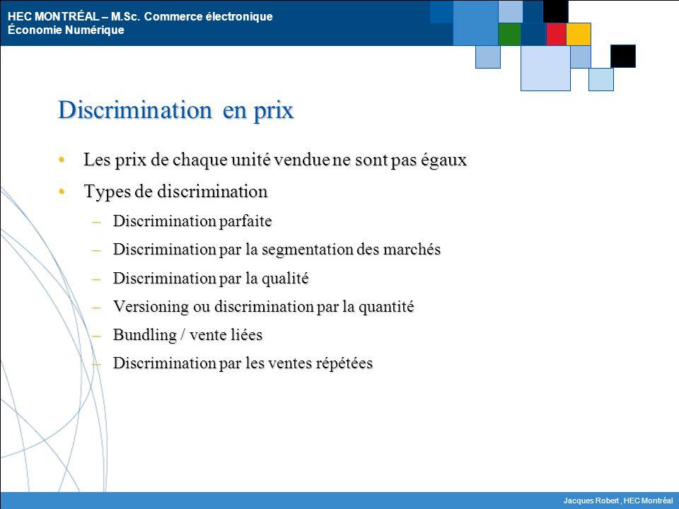 HEC MONTRÉAL – M.Sc. Commerce électronique Économie Numérique Jacques Robert, HEC Montréal Discrimination en prix Les prix de chaque unité vendue ne s