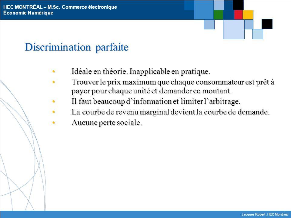 HEC MONTRÉAL – M.Sc. Commerce électronique Économie Numérique Jacques Robert, HEC Montréal Discrimination parfaite Idéale en théorie. Inapplicable en