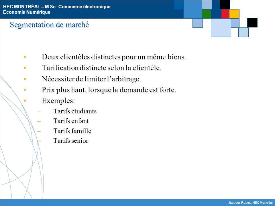 HEC MONTRÉAL – M.Sc. Commerce électronique Économie Numérique Jacques Robert, HEC Montréal Segmentation de marché Deux clientèles distinctes pour un m