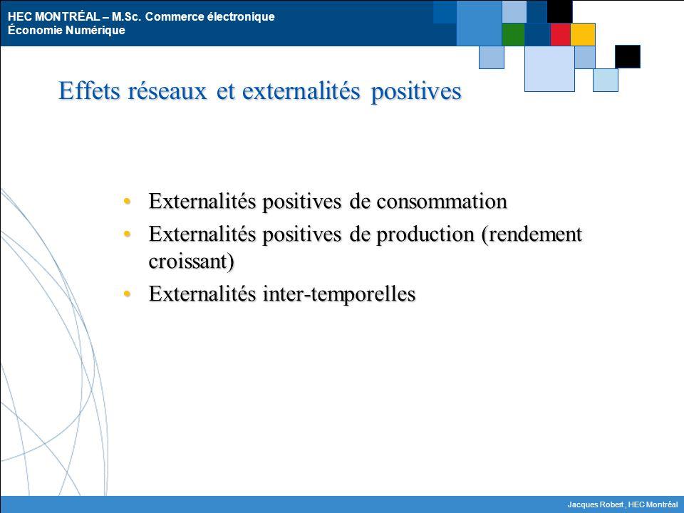 HEC MONTRÉAL – M.Sc. Commerce électronique Économie Numérique Jacques Robert, HEC Montréal Effets réseaux et externalités positives Externalités posit