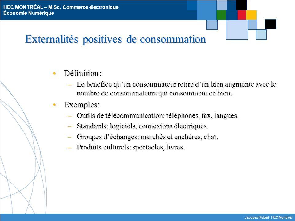 HEC MONTRÉAL – M.Sc. Commerce électronique Économie Numérique Jacques Robert, HEC Montréal Externalités positives de consommation Définition :Définiti