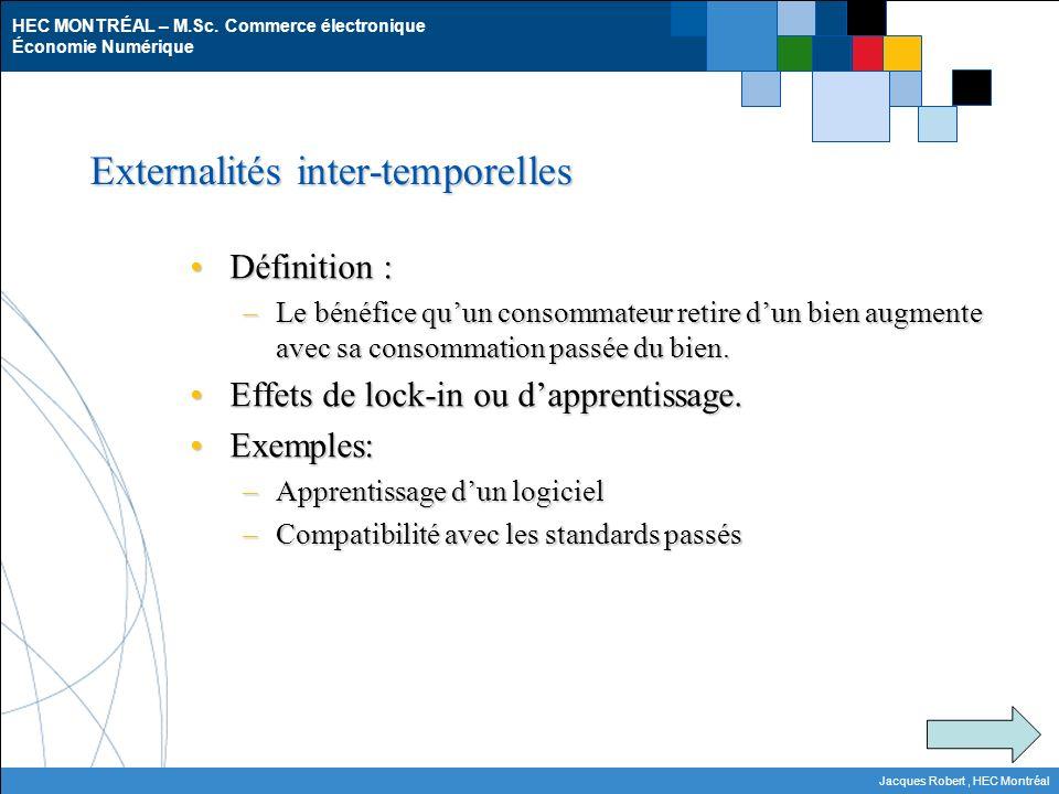 HEC MONTRÉAL – M.Sc. Commerce électronique Économie Numérique Jacques Robert, HEC Montréal Externalités inter-temporelles Définition :Définition : –Le